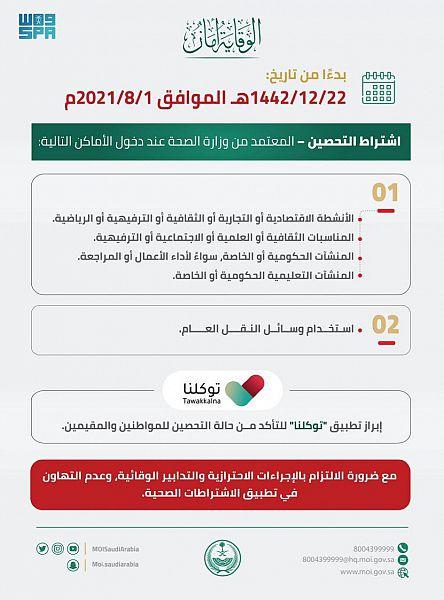 #السعودية   #وزارة_الداخلية : اشتراط التحصين المعتمد من #الصحة لدخول الأنشطة والمناسبات والمنشآت سيبدأ أول أغسطس المقبل